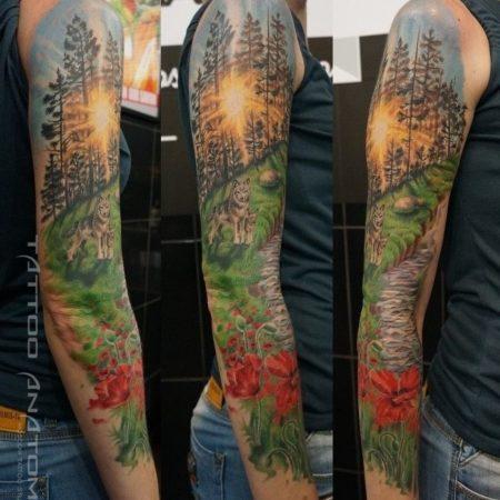 Женское цветное тату Пейзаж Лес Волки на руке