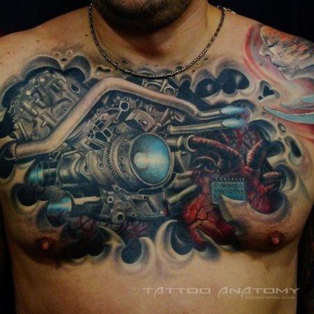 Мужское тату в стиле 3D Биомеханика на груди