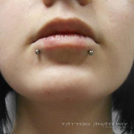 Пирсинг губ симметрия с нижним монро