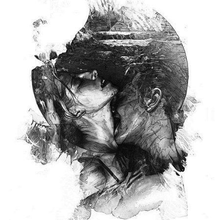 Эскиз тату стиля Black gray слияние двух человек парень и девушка