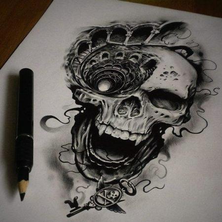 эскиз тату стиля Black gray череп