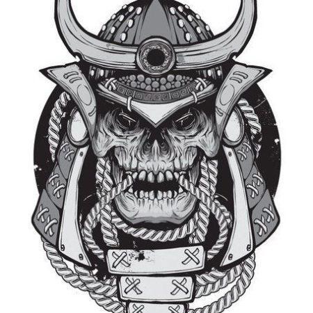 эскиз тату стиля Black gray череп цепи