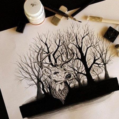 эскиз в стиле блекворк лес и олень