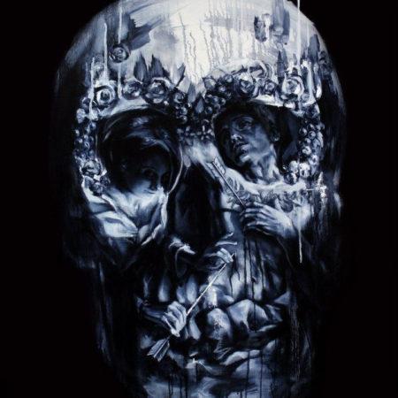 эскиз в стиле блекворк череп