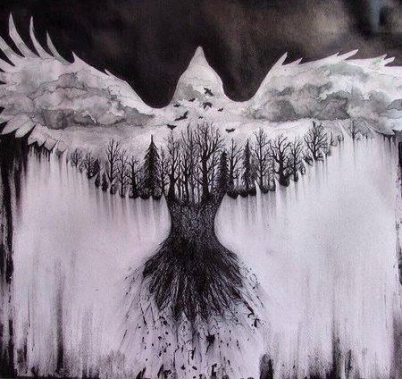 Эскиз в стиле блекворк лес и птица
