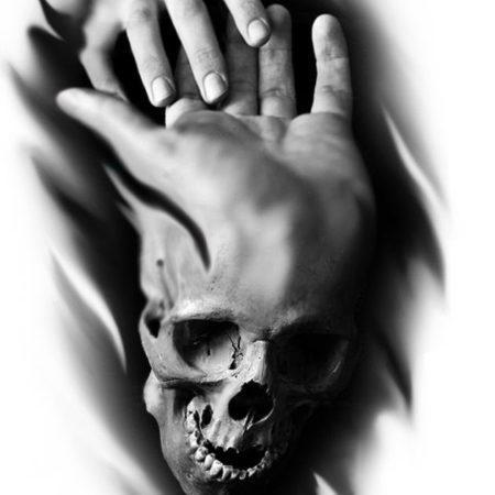 эскиз в стиле блекворк череп на руке