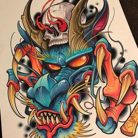 Эскиз цветной татуировки в стиле нью скул