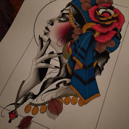 Эскиз цветной татуировки в стиле нео-традишнл