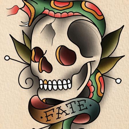 эскизы тату в стиле Олд Скул череп