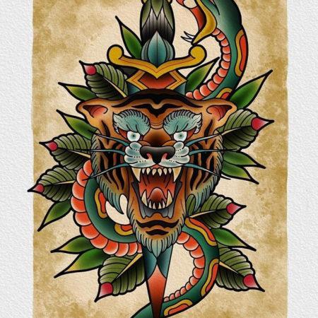 эскизы тату в стиле Олд Скул тигр змея