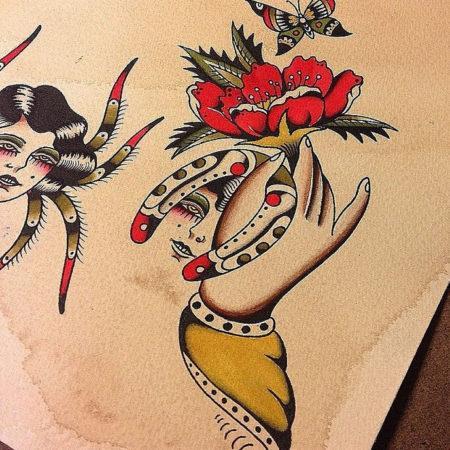 Эскизы в стиле Олд Скул рука
