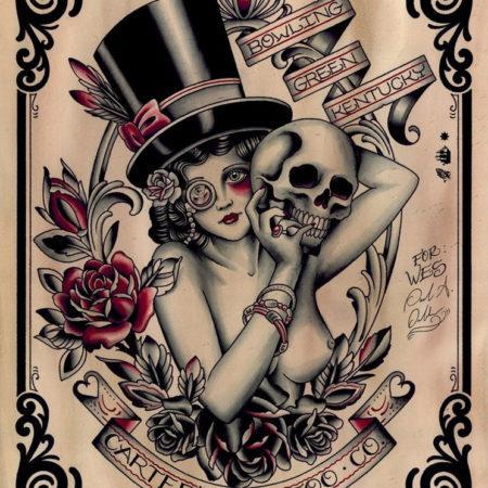 эскизы тату в стиле Олд Скул девушка и череп