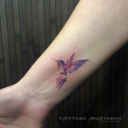 тату цветное птица на запястье