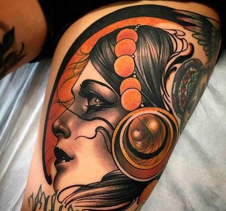 Нео-традишнл тату в стиле реализм цветное