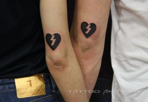 Тату парень и девушка Парные тату сердца на руках
