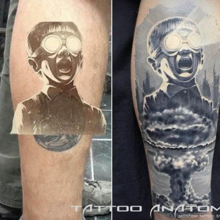 перекрытие тату мужское в стиле стимпанк мальчик ядерная бомба