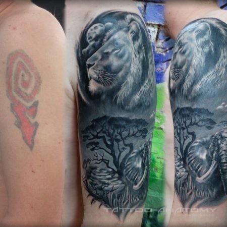 перекрытие тату мужское в стиле реализм на руке Лев и слон ночью