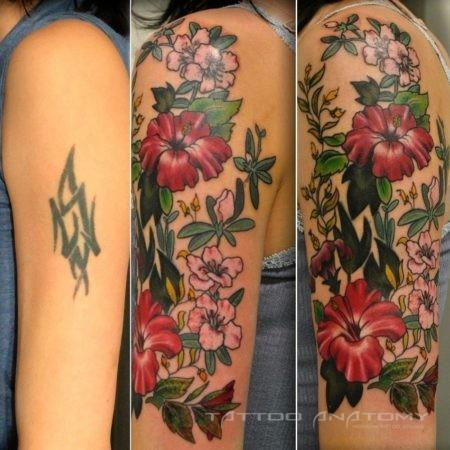 тату перекрытие в стиле акварель цветы на руке