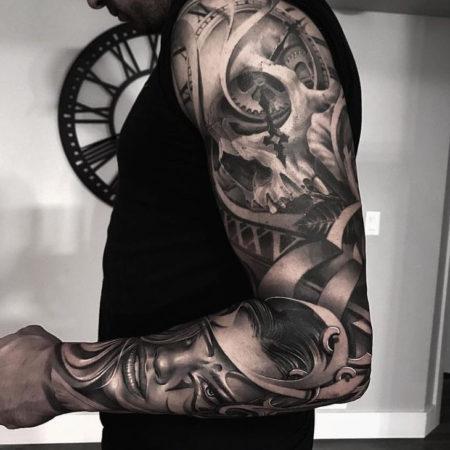 Мужское тату рукав в стиле Black&Gray