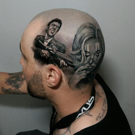 Мужское тату на голове в стиле чикано