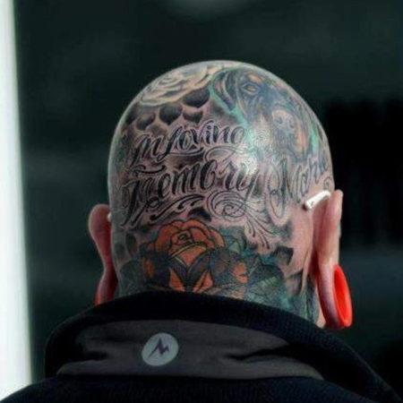 Мужское тату на голове