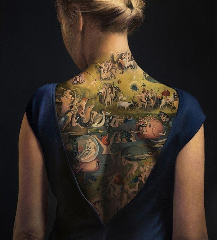 Женское тату на спине картина