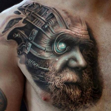 Мужское тату в стиле стимпанк 3D