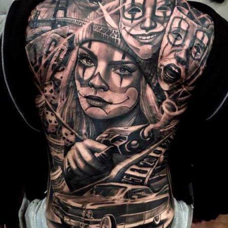 Мужское тату в стиле чикано на спине девушка