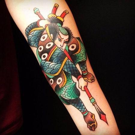 Мужское тату в японском стиле на предплечье