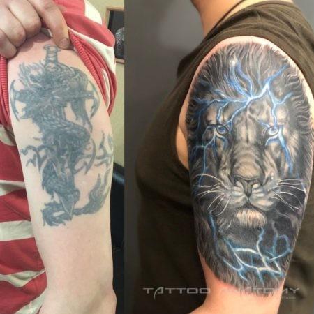 Исправление тату львом