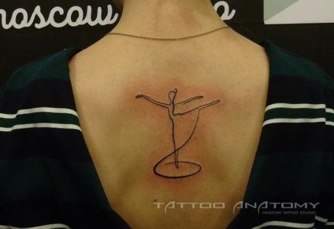 тату женское балерина на спине