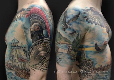 Мужское тату на всё тело в морском стиле