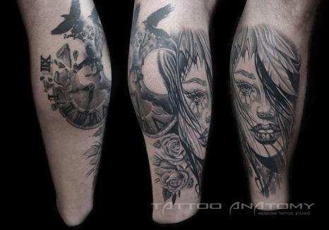 Мужское тату в стиле готика на ноге девушка