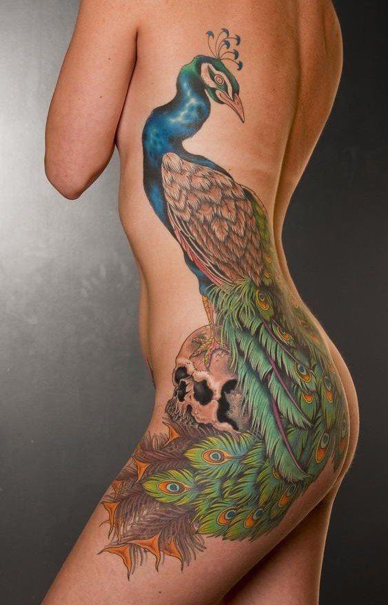 женские тату на боку цветное в стиле реализм павлин