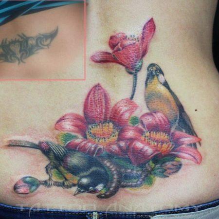 Перекрытие татуировки на пояснице