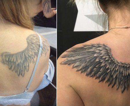 Исправление тату крыльев на спине